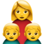 family: woman, boy, boy Emoji on Apple, iOS