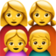 family: woman, woman, girl, boy Emoji on Apple, iOS