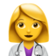 woman health worker Emoji on Apple, iOS