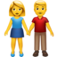 woman and man holding hands Emoji on Apple, iOS