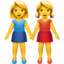 women holding hands Emoji on Apple, iOS