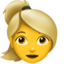 woman: blond hair Emoji on Apple, iOS