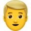 man: blond hair Emoji on Apple, iOS