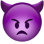 angry face with horns Emoji on Apple, iOS