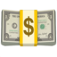 dollar banknote Emoji on Apple, iOS