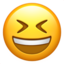 grinning squinting face Emoji on Apple, iOS