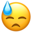downcast face with sweat Emoji on Apple, iOS