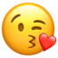 face blowing a kiss Emoji on Apple, iOS
