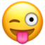 winking face with tongue Emoji on Apple, iOS