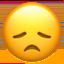 Emoji de cara decepcionada en Apple, iOS