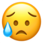 sad but relieved face Emoji on Apple, iOS