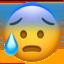 anxious face with sweat Emoji on Apple, iOS