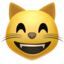 grinning cat with smiling eyes Emoji on Apple, iOS