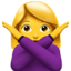 woman gesturing NO Emoji on Apple, iOS