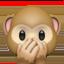 speak-no-evil monkey Emoji on Apple, iOS