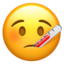 face with thermometer Emoji on Apple, iOS