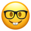 nerd face Emoji on Apple, iOS