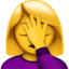 woman facepalming Emoji on Apple, iOS