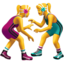 women wrestling Emoji on Apple, iOS