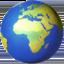 globe showing Europe-Africa Emoji on Apple, iOS