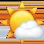 sun behind small cloud Emoji on Apple, iOS