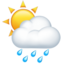 sun behind rain cloud Emoji on Apple, iOS