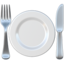 fork and knife with plate Emoji on Apple, iOS