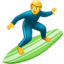 man surfing Emoji on Apple, iOS