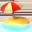 beach with umbrella Emoji on Apple, iOS