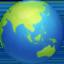 globe showing Asia-Australia Emoji on Facebook