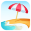 beach with umbrella Emoji on Facebook
