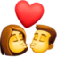 kiss: woman, man Emoji on Facebook