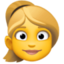 woman: blond hair Emoji on Facebook
