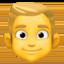 man: blond hair Emoji on Facebook