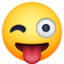 winking face with tongue Emoji on Facebook