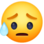 sad but relieved face Emoji on Facebook