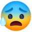 anxious face with sweat Emoji on Facebook