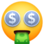 money-mouth face Emoji on Facebook