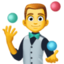 man juggling Emoji on Facebook