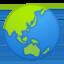 globe showing Asia-Australia Emoji on Android, Google