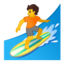 person surfing Emoji on Android, Google