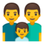 family: man, man, boy Emoji on Android, Google