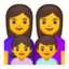 family: woman, woman, girl, boy Emoji on Android, Google