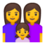 family: woman, woman, girl Emoji on Android, Google