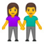 woman and man holding hands Emoji on Android, Google