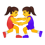 women wrestling Emoji on Android, Google
