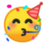 partying face Emoji on Android, Google
